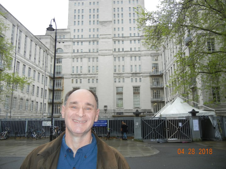Bob Fahey in April 2018 at Senate House in London, the building that used to represent Bertie Wooster's New York apartment building